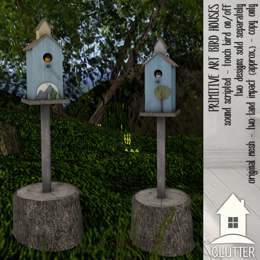 Clutter Home - Primitive Art Bird Houses - ad