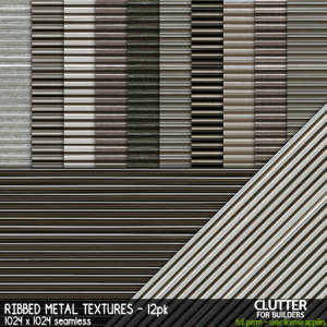 Clutter - Ribbed Metal Textures - 12PK - ad