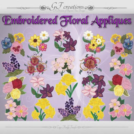 GFC-Embroidered Floral Dressmaker Appliques - Ad
