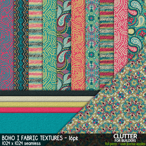 Clutter - Boho I Fabric Textures - 16PK - ad