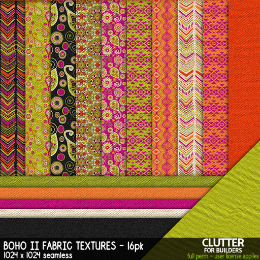 Clutter - Boho II Fabric Textures - 16PK - ad
