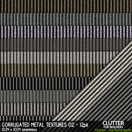 Clutter - Corrugated Metal Textures 02 - 12PK - ad
