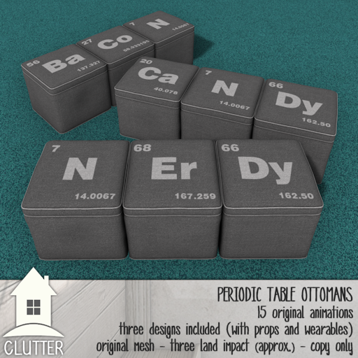Clutter Home - Periodic Table Ottomans - ad