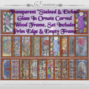 GFC-Ornately Framed Stained Etched Glass - Ad