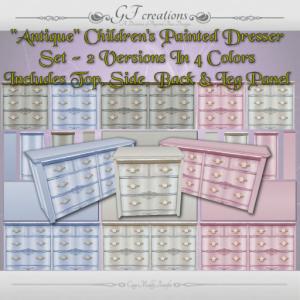 GFC-Painted Antique Childrens Dresser Set-Ad
