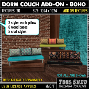 Tool Shed - Dorm Couch Add-On - Boho Ad