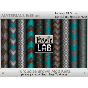 Fabric Lab Mod Knits Turquoise Brown Materials Edition