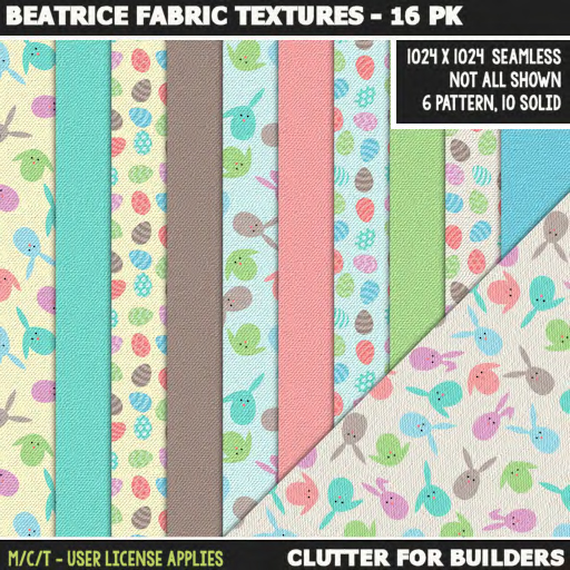 Clutter - Beatrice Fabric Textures - 16PK - ad
