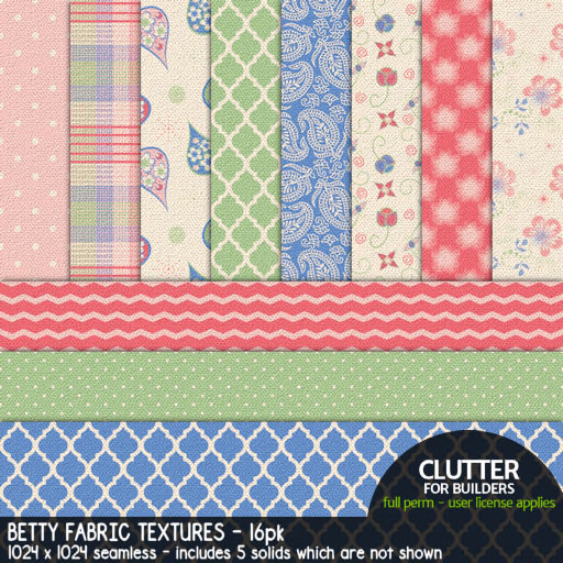 Clutter - Betty Fabric Textures - 16-PK (ad)