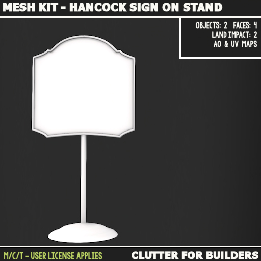 Clutter - Mesh kit - Hancock Sign on Stand - ad