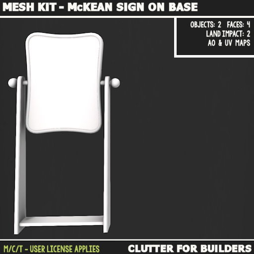 Clutter - Mesh kit - McKean Sign on Base - ad