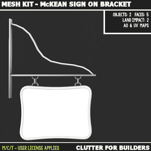 Clutter - Mesh kit - McKean Sign on Bracket - ad