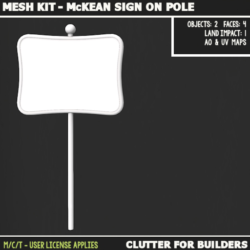Clutter - Mesh kit - McKean Sign on Pole - ad