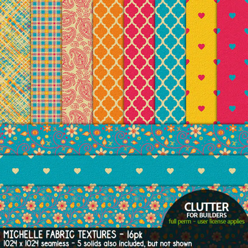 Clutter - Michelle Fabric Textures - 16-PK (ad)