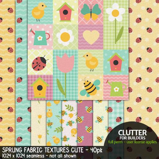 Clutter - Sprung Fabric Textures Cute - 40-pk - ad