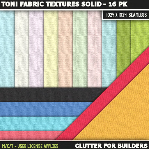 Clutter - Toni Fabric Textures Solid - 16PK - ad
