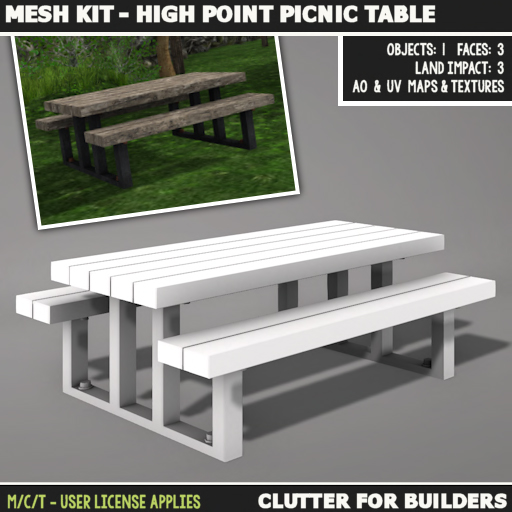 Clutter - Mesh Kit - High Point Picnic Table - ad