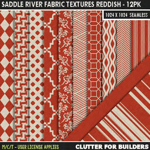 Clutter - Saddle River Fabric Textures Reddish - 12PK