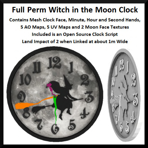 Full Perm Witch in the Moon Clock Ad