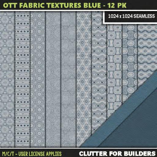 Clutter - Ott Fabric Textures Blue - 12PK - ad