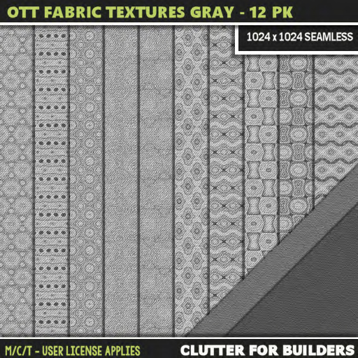 Clutter - Ott Fabric Textures Gray - 12PK - ad