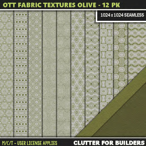 Clutter - Ott Fabric Textures Olive - 12PK - ad