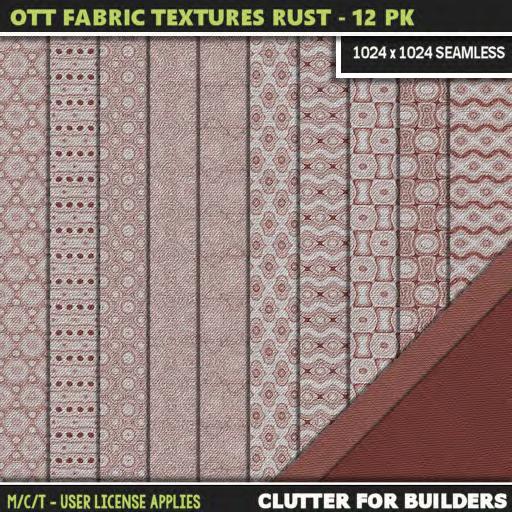 Clutter - Ott Fabric Textures Rust - 12PK - ad