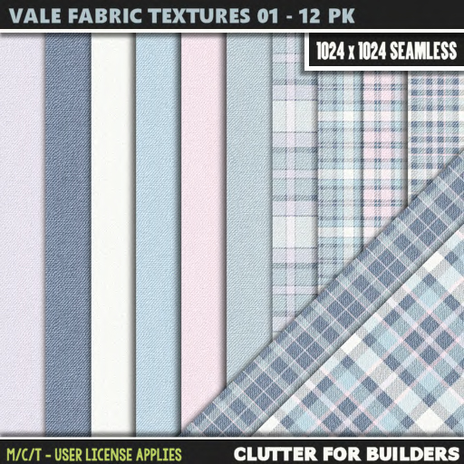 Clutter - Vale Fabric Textures 01 - 12PK