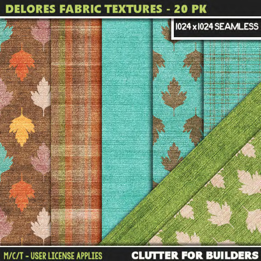 Clutter - Delores Fabric Textures - 20PK - ad