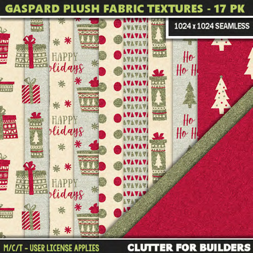 Clutter - Gaspard Plush Fabric Textures - 17PK - ad