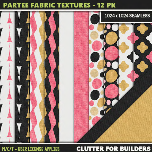 Clutter - Partee Fabric Textures - 12PK - ad
