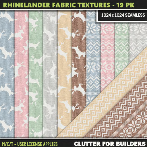 Clutter - Rhinelander Fabric Textures - 19PK - ad