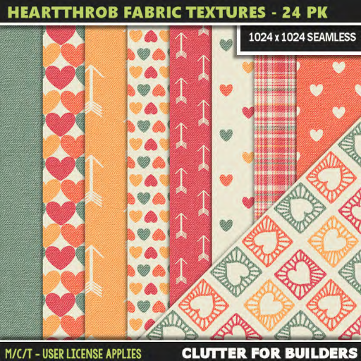 Clutter - Heartthrob Fabric Textures - 24PK - ad