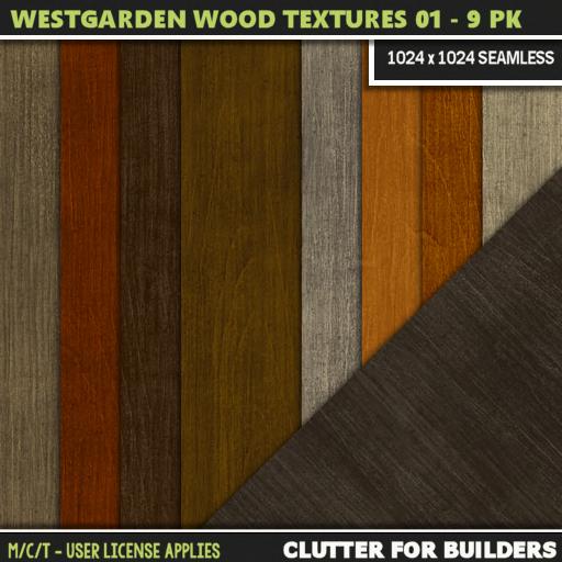 Clutter - Westgarden Wood Textures 01 - 9PK - ad