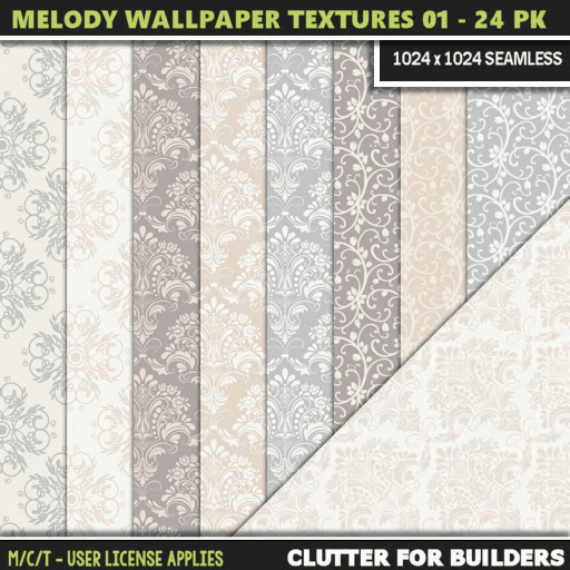 Clutter - Melody Wallpaper Textures 01 - 24PK - ad