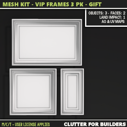Clutter - Mesh Kit - VIP Frames 3PK - GIFT- ad