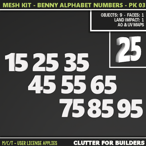 Clutter - Mesh Kit - Benny Alphabet Numbers - Pk 03 - ad