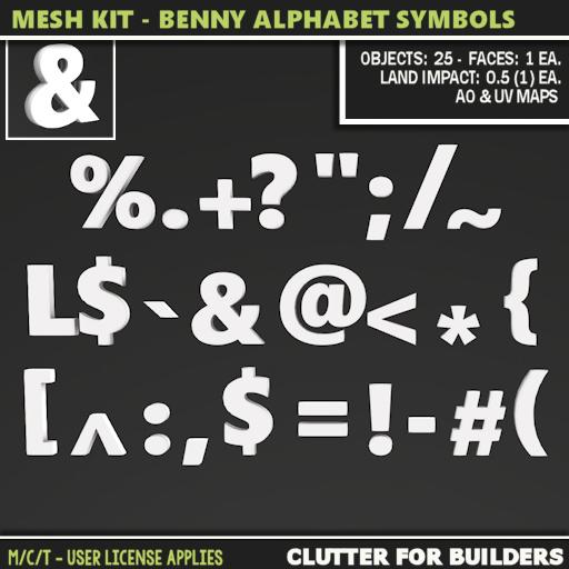 Clutter - Mesh Kit - Benny Alphabet Symbols - ad
