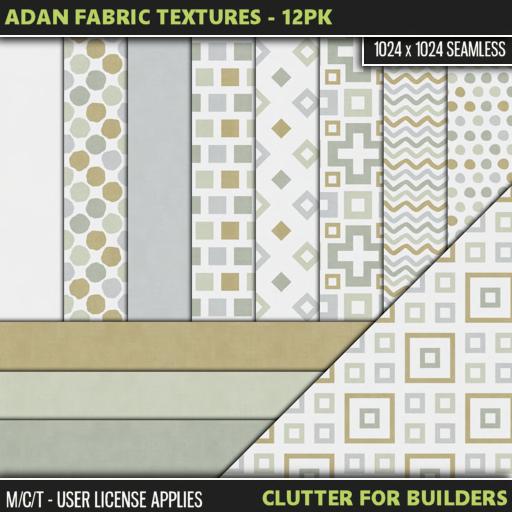 Clutter - Adan Fabric Textures - 12PK - ad