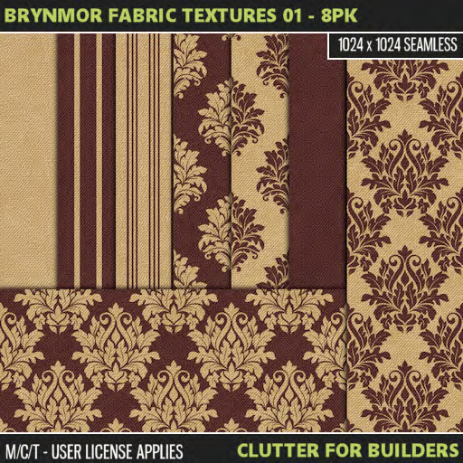 Clutter - Brynmor Fabric Textures 01 - 8PK - ad