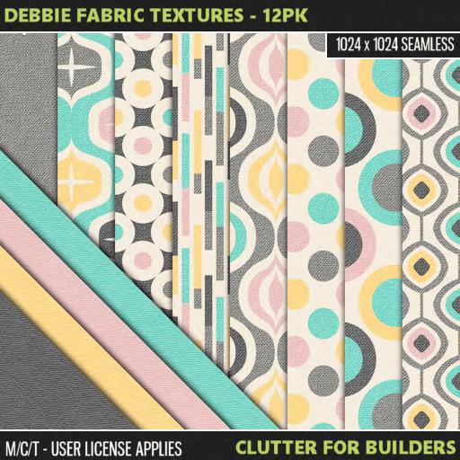 Clutter - Debbie Fabric Textures - 12PK - ad