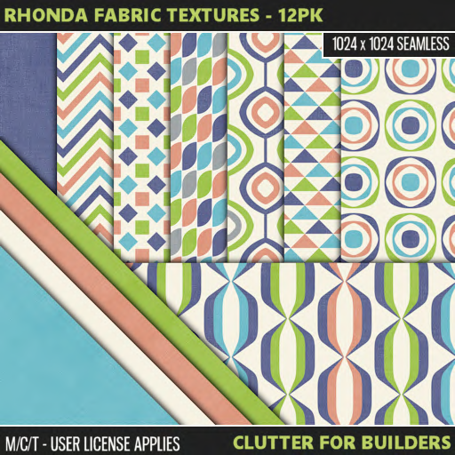 Clutter - Rhonda Fabric Textures - 12PK - ad
