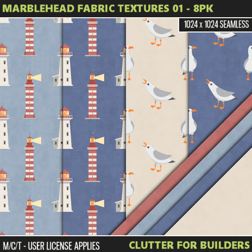 Clutter - Marblehead Fabric Textures 01 - 8PK - ad