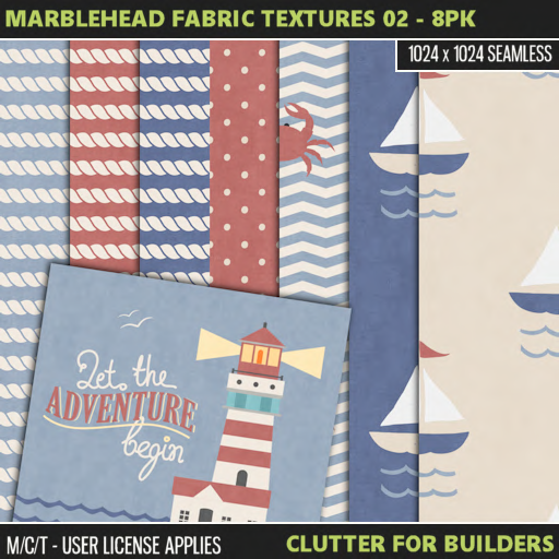 Clutter - Marblehead Fabric Textures 02 - 8PK - ad