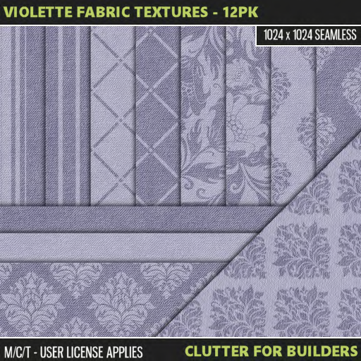 Clutter - Violette Fabric Textures - 12PK - ad