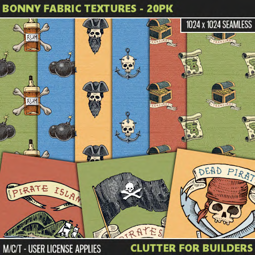 Clutter - Bonny Fabric Textures - 20PK - ad