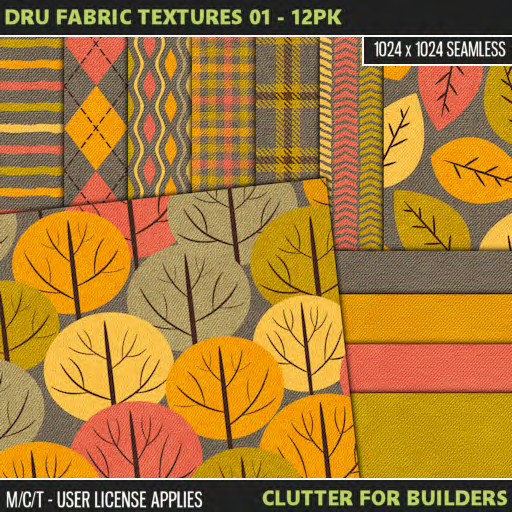 Clutter - Dru Fabric Textures 01 - 12PK - ad