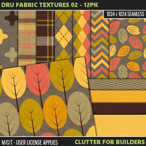 Clutter - Dru Fabric Textures 02 - 12PK - ad