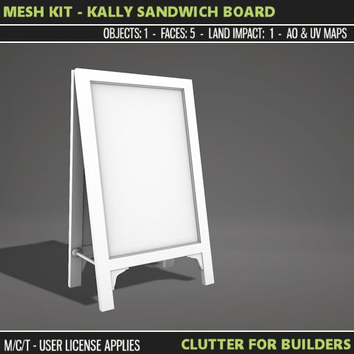 Clutter - Mesh Kit - Kally Sandwich Board - ad