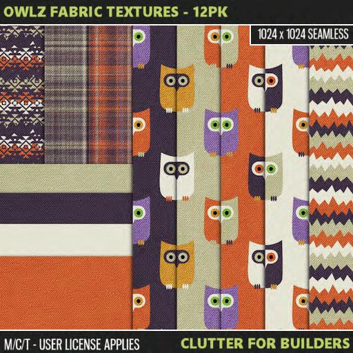 Clutter - Owlz Fabric Textures - 12PK - ad